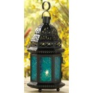 Small Blue Glass Moroccan Lantern